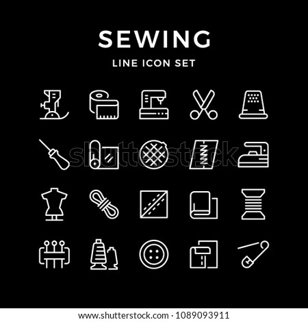Set line icons of sewing isolated on black