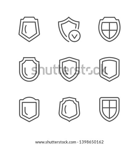 Set line icons of shield isolated on white