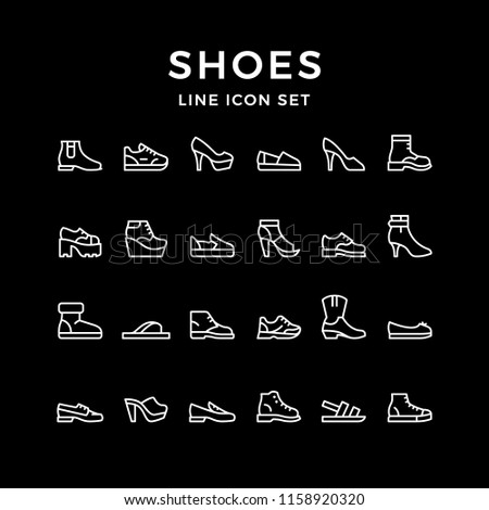 Set line icons of shoes isolated on black