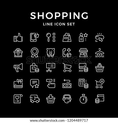 Set line icons of shopping isolated on black