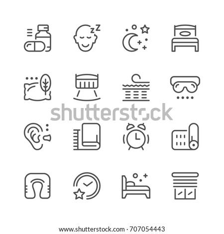 Set line icons of sleep isolated on white