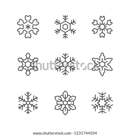 Set line icons of snowflake isolated on white