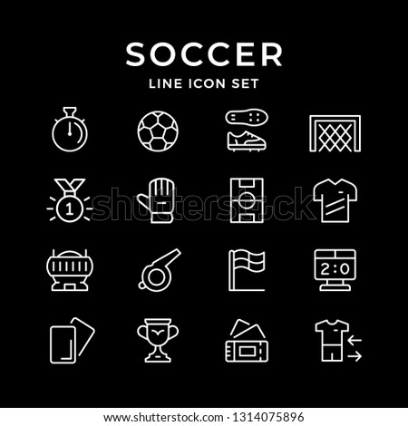 Set line icons of soccer isolated on black