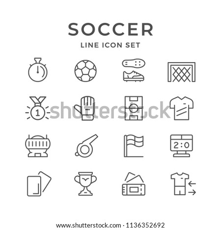 Set line icons of soccer isolated on white