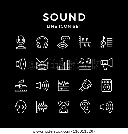 Set line icons of sound isolated on black