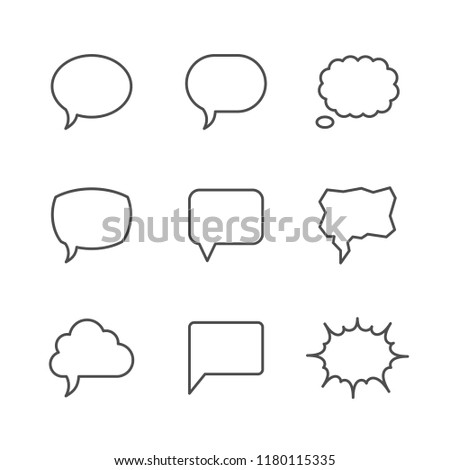 Set line icons of speech bubble isolated on white