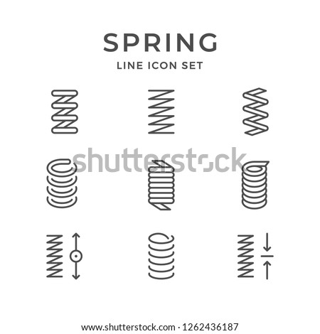 Set line icons of spring isolated on white