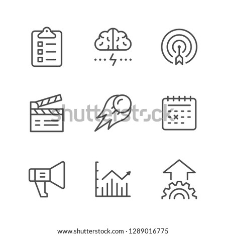 Set line icons of start up isolated on white