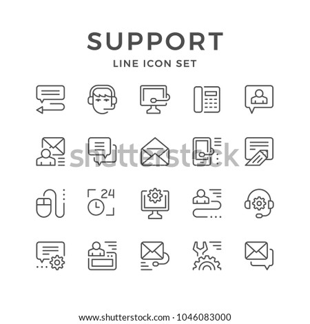 Set line icons of support isolated on white
