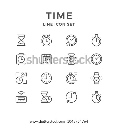 Set line icons of time isolated on white