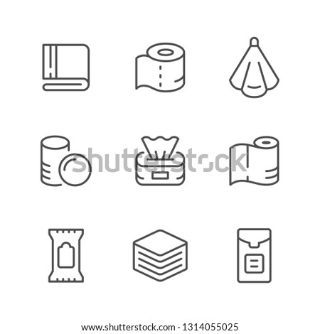 Set line icons of towel and napkin isolated on white