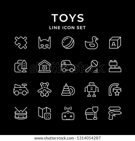 Set line icons of toys isolated on black