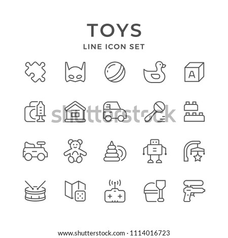 Set line icons of toys isolated on white