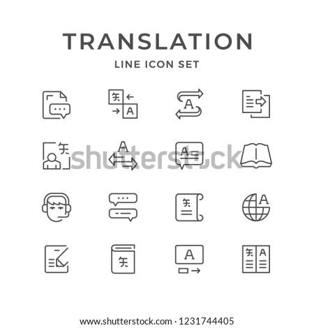 Set line icons of translation isolated on white