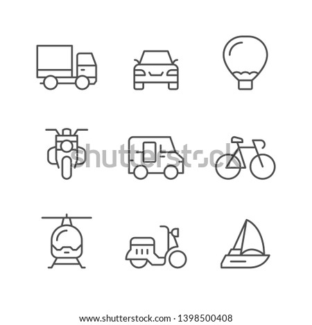 Set line icons of transport isolated on white
