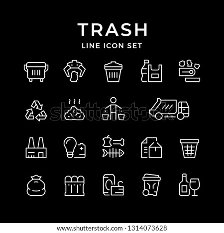 Set line icons of trash isolated on black