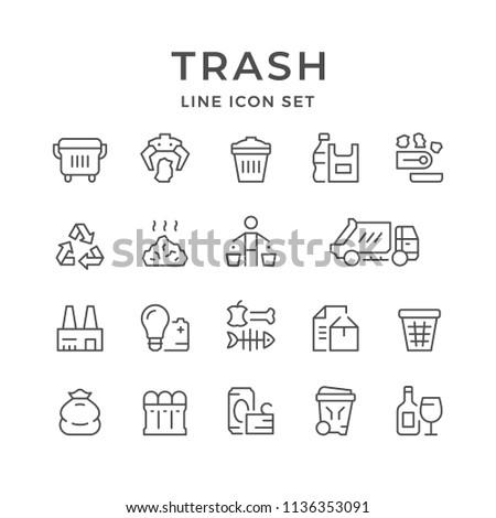 Set line icons of trash isolated on white