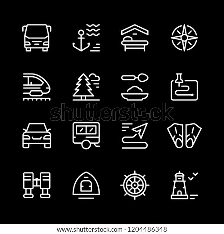 Set line icons of travel isolated on black