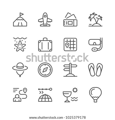 Set line icons of travel isolated on white