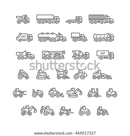 Set line icons of trucks and tractors isolated on white