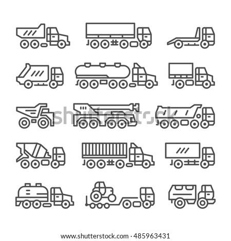 Set line icons of trucks isolated on white