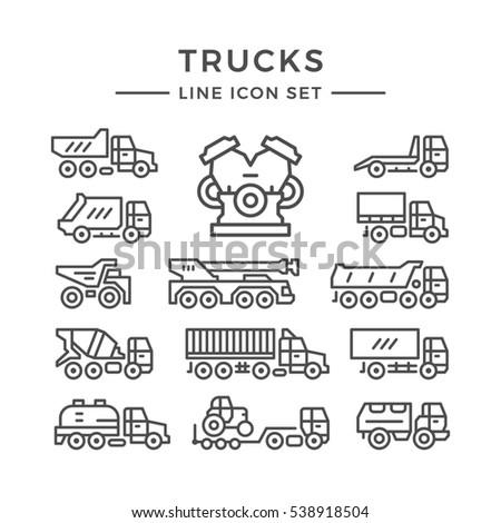 Set line icons of trucks isolated on white