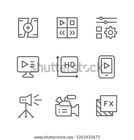 Set line icons of video isolated on white