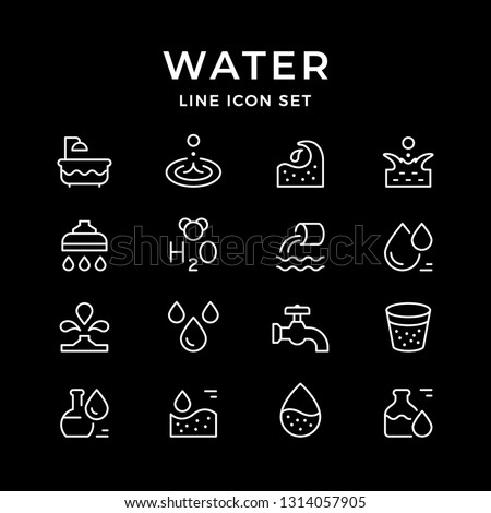 Set line icons of water isolated on black