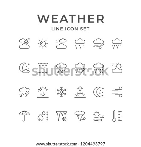 Set line icons of weather isolated on white