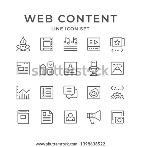 Set line icons of web content isolated on white