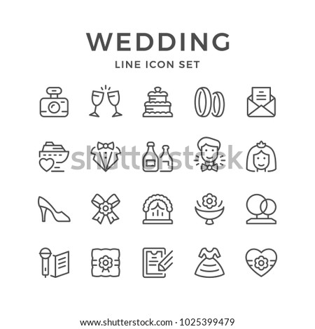 Set line icons of wedding isolated on white