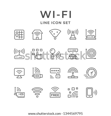 Set line icons of Wi-Fi isolated on white