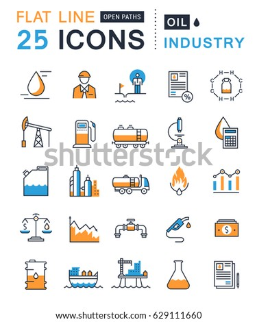 Set  line icons with open path oil industry, power and energy production, mining minerals with elements for mobile concepts and web apps. Collection modern infographic logo. Raster version.