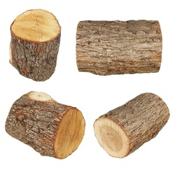 set log fire wood isolated on white background with clipping path (high resolution)