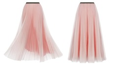 Set, luxurious fashionable pleated spring summer skirt of two kinds of fabric, in two angles, fluttering in the wind, pink