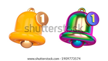 Set Minimal Notification bell icon isolated on white background. one new notification concept. Social Media element. 3d rendering