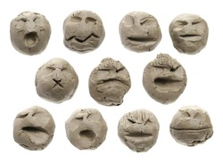 Set modelling clay sculpture, face expression emotion isolated on white background