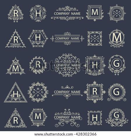 Set monogram company logos, business sign