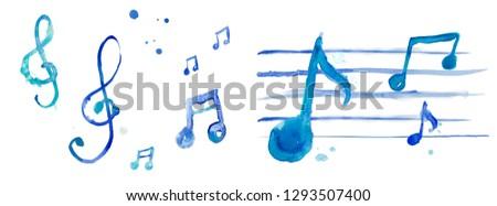 Set music blue watercolor, treble key, treble clefnote signes, symboles art illustration classic, rock'n'roll, jazz, swing,radio,