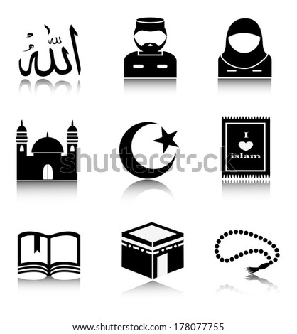 Set Muslim icons on a white background.One icon represents the word Allah written in Arabic script