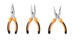 Set new metal pliers, orange and black rubber grip. Used for bending, cutting, clamping in electrical work. Repair or build. Isolated on white background.