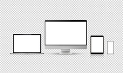 set new model of computer display or desktop and smartphone laptop , isolated with clipping path on transparent background