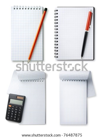 set notebook and pencil, pen and calculator on white background