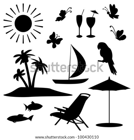 Set objects represent summer, exotic and a beach. Black contour on white background - stock photo