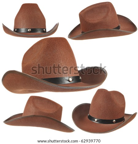Set of a brown cowboy hats on white background. Stock photo ©