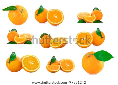 Set of a fresh oranges with green leaf isolated on a white background