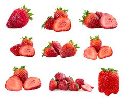 Set of a fresh strawberries isolated on a white background