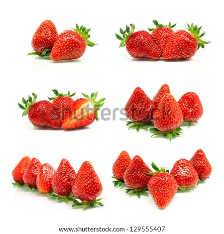 Set of a fresh strawberries isolated on white background