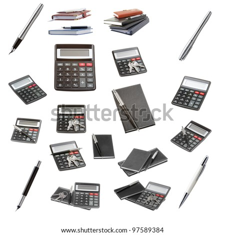 Set of a office objects isolated on a white background