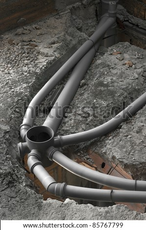 Set of a sewer pipes during house construction.